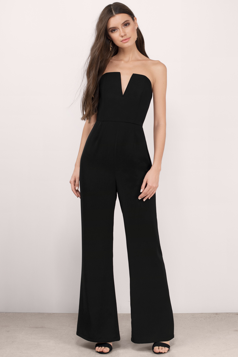 acbc3d14b566 Chic Black Jumpsuit - Deep V Jumpsuit - Jumpsuit - Black Jumpsuit ...