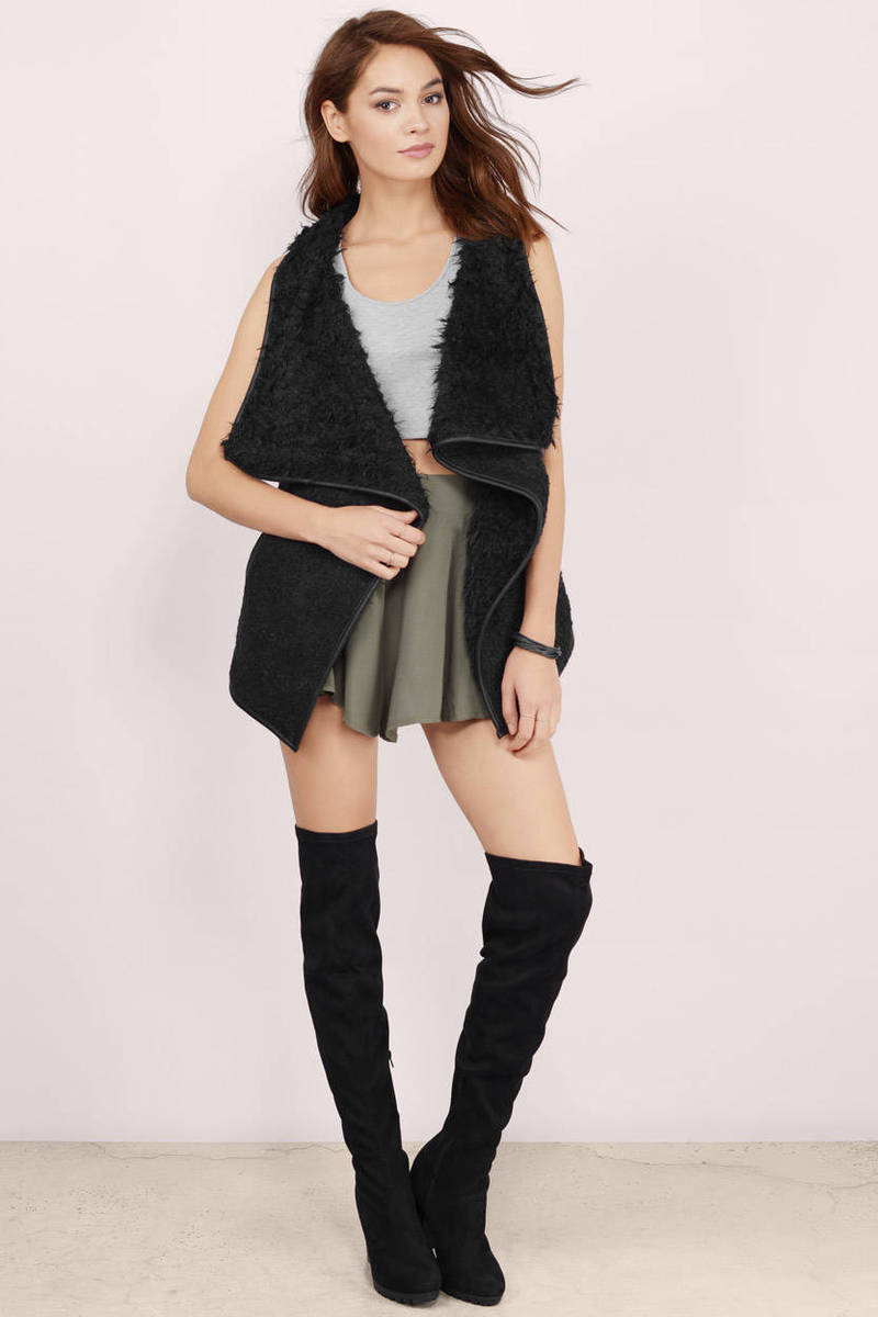 Keep It Cozy Khaki Shearling Vest