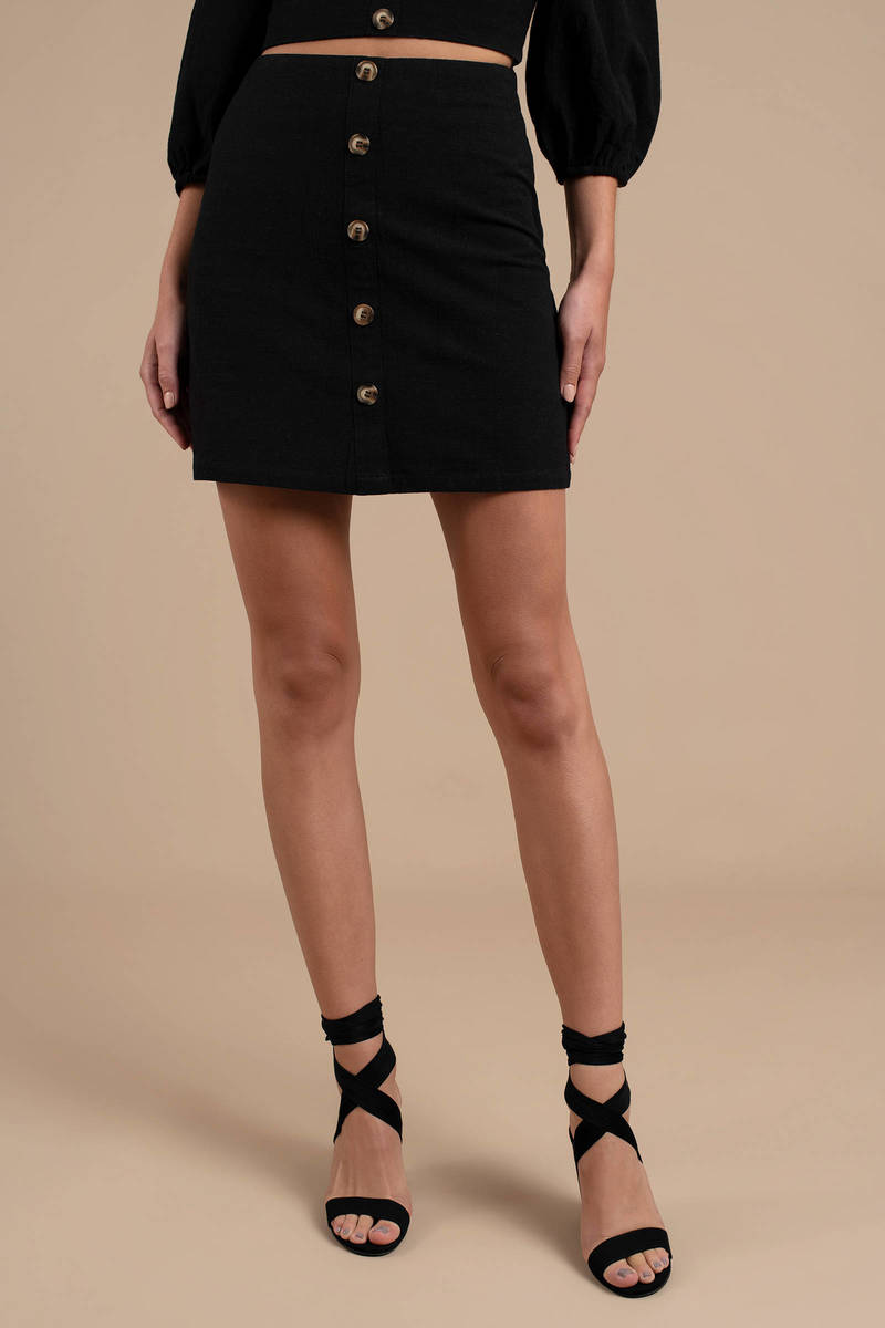 8383520a9f9b Black Joa Skirt - Button Up Skirt - Black Fitted Skirt - Summer ...