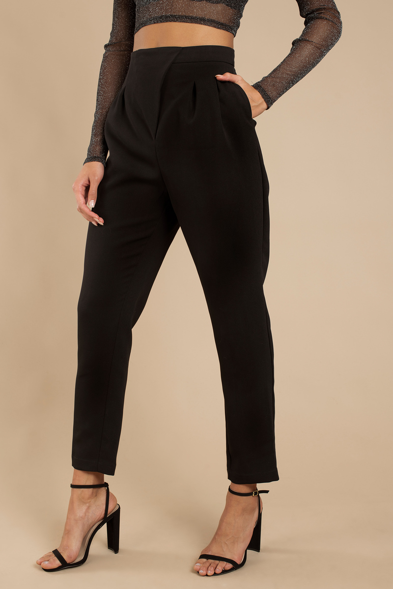42134519bb39 Trendy Black Pants - Straight Pants - High Waisted Pants - Pleated ...