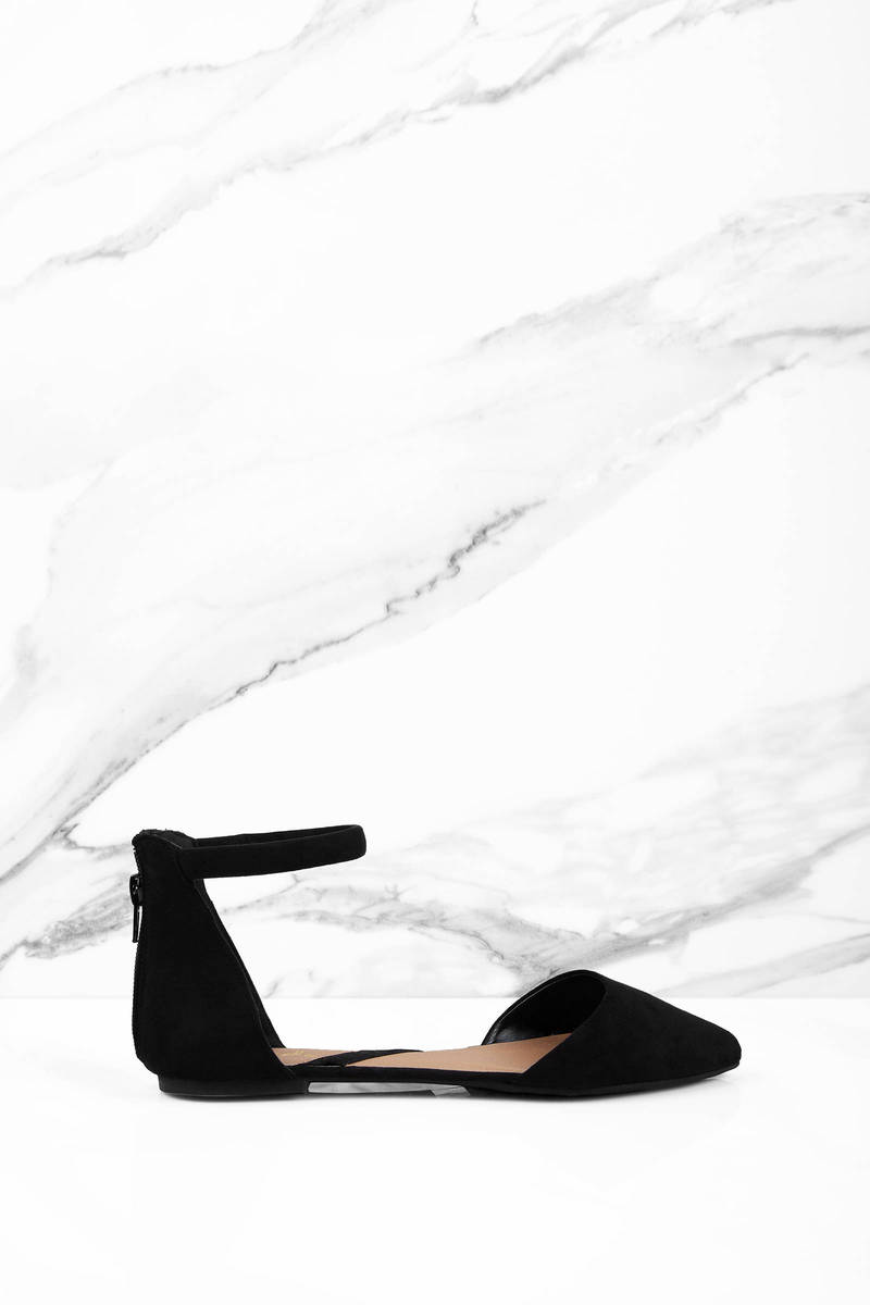 Kendall Black Suede Flats