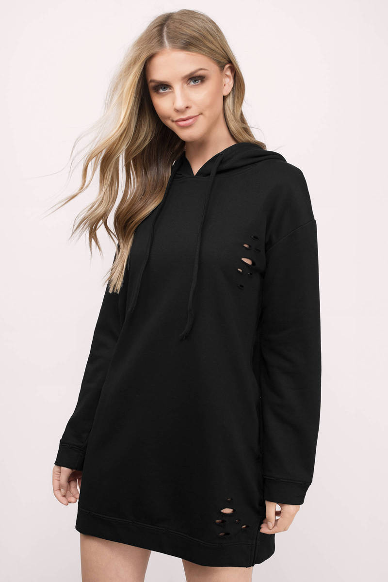 Khloe Black Sweatshirt Dress
