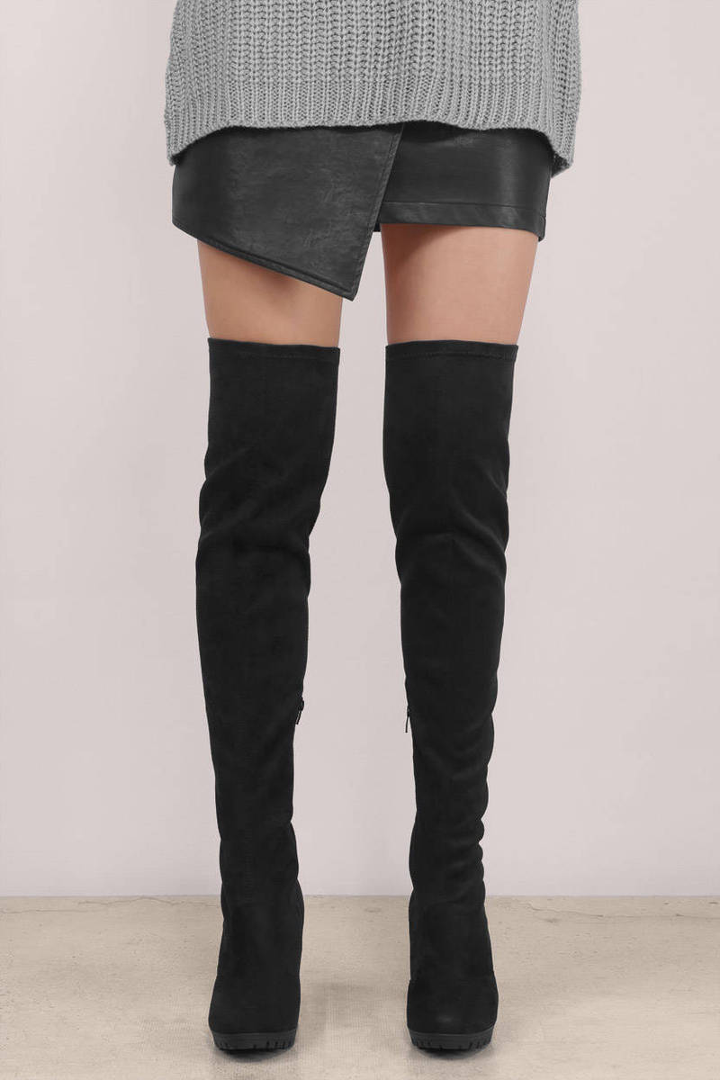 3e5297e0589 Stylish Black Boots - Faux Suede Boots - Black Thigh High Boots ...