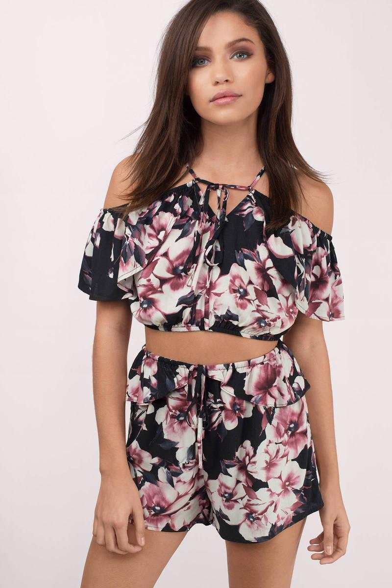 Kimberly Black Floral Print Shorts
