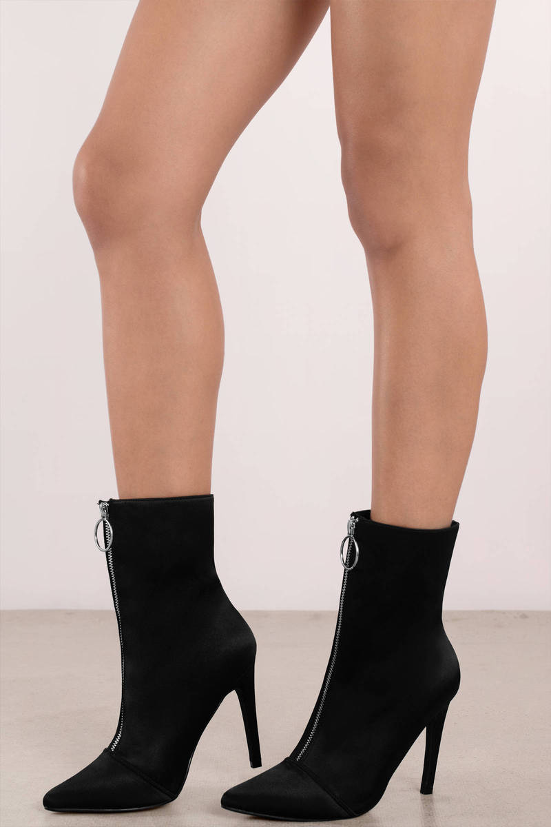 a0bddc2c6725 Black Boots - Zip Up Boots - Black Boot With Heel - C  59