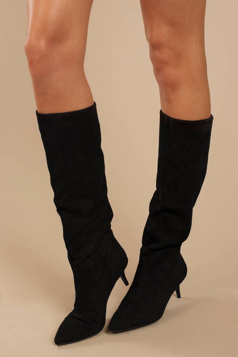 f7efa9c81174 Black Steve Madden Boots - High Heel Boots - Black Knee High Boots ...