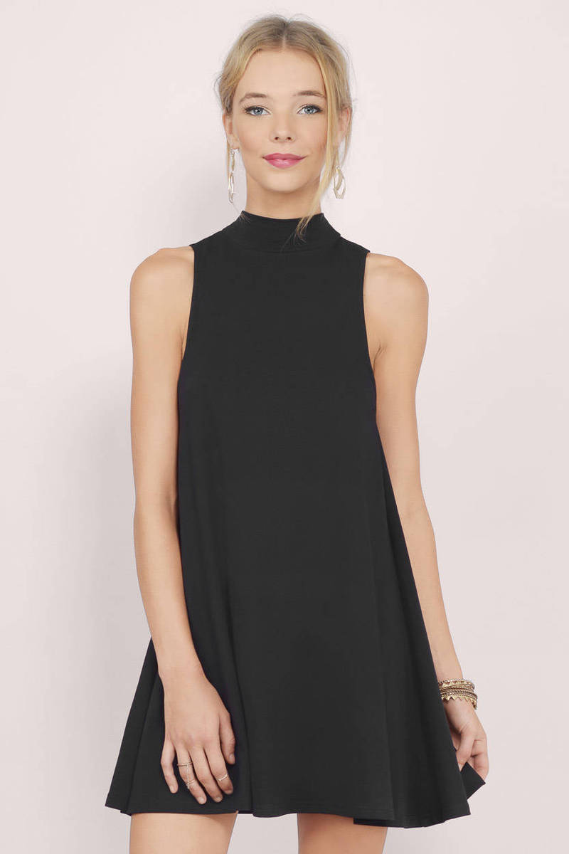 00506eb6950d43 Black Shift Dress - Mock Neck Dress - Black Sleeveless Dress -  22 ...