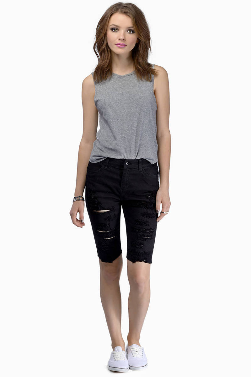 Knee Grazer Black Shorts