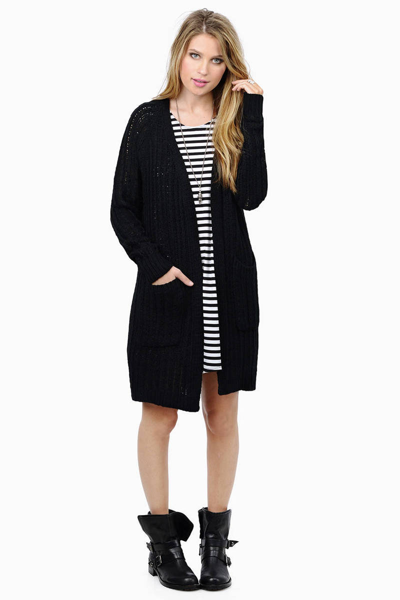 Knit On Deck Black Cardigan