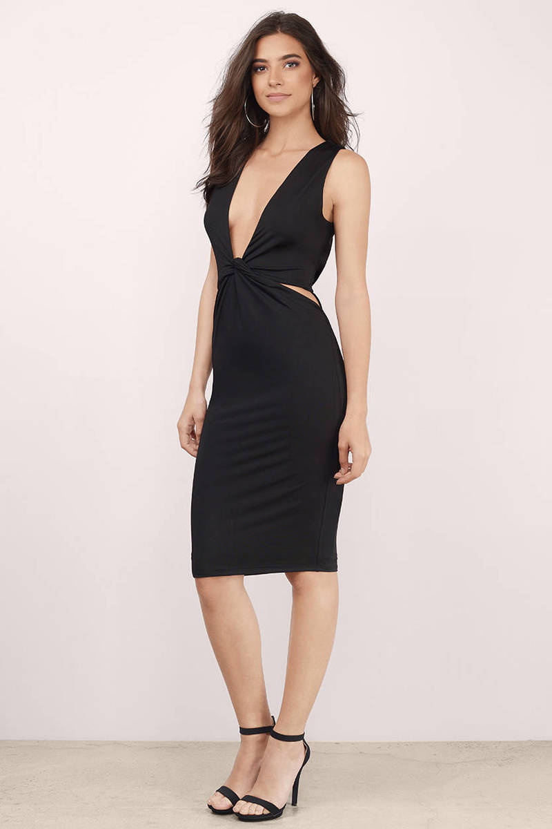 sexy black midi dress  black dress  cut out dress  midi