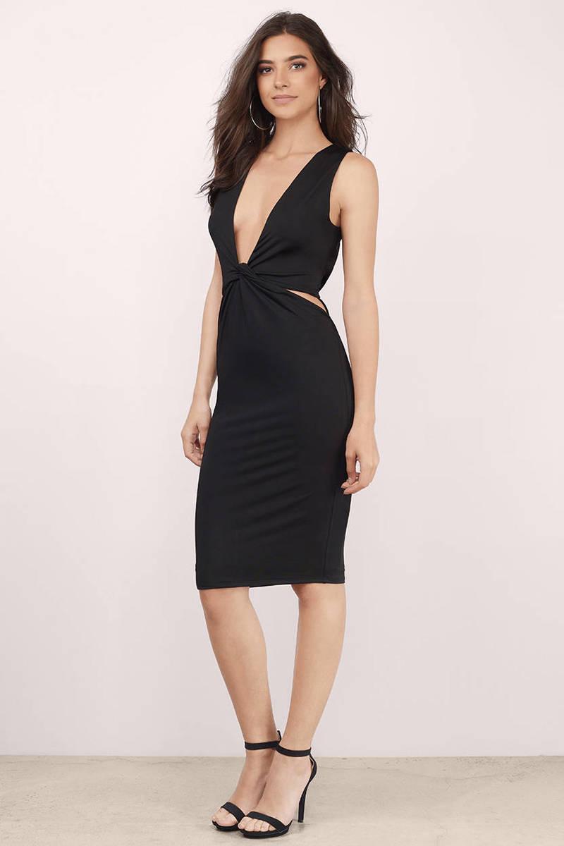 Knot Your Average Black Midi Dress