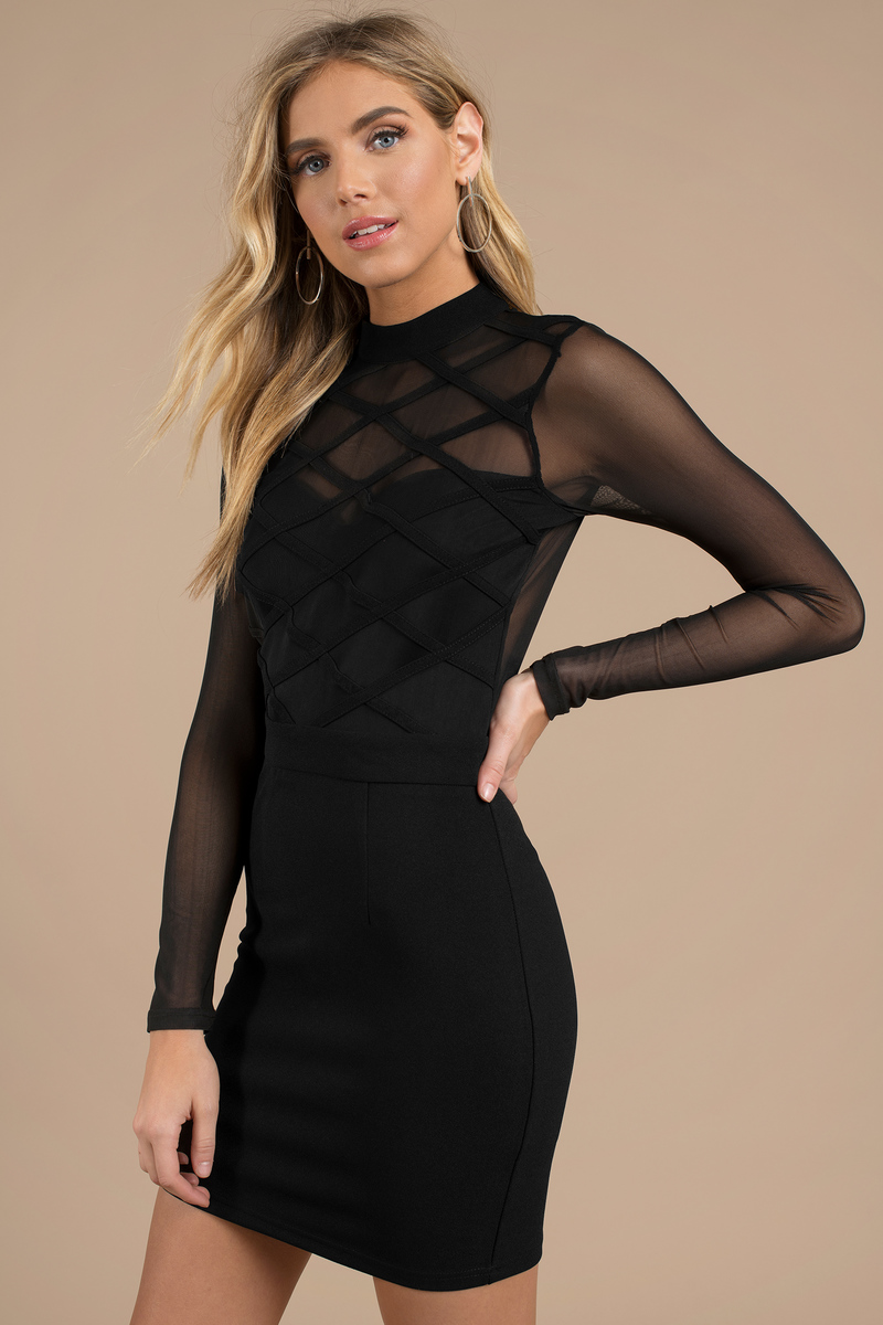 Black Bodycon Dress Long Sleeve Mesh Dress Black