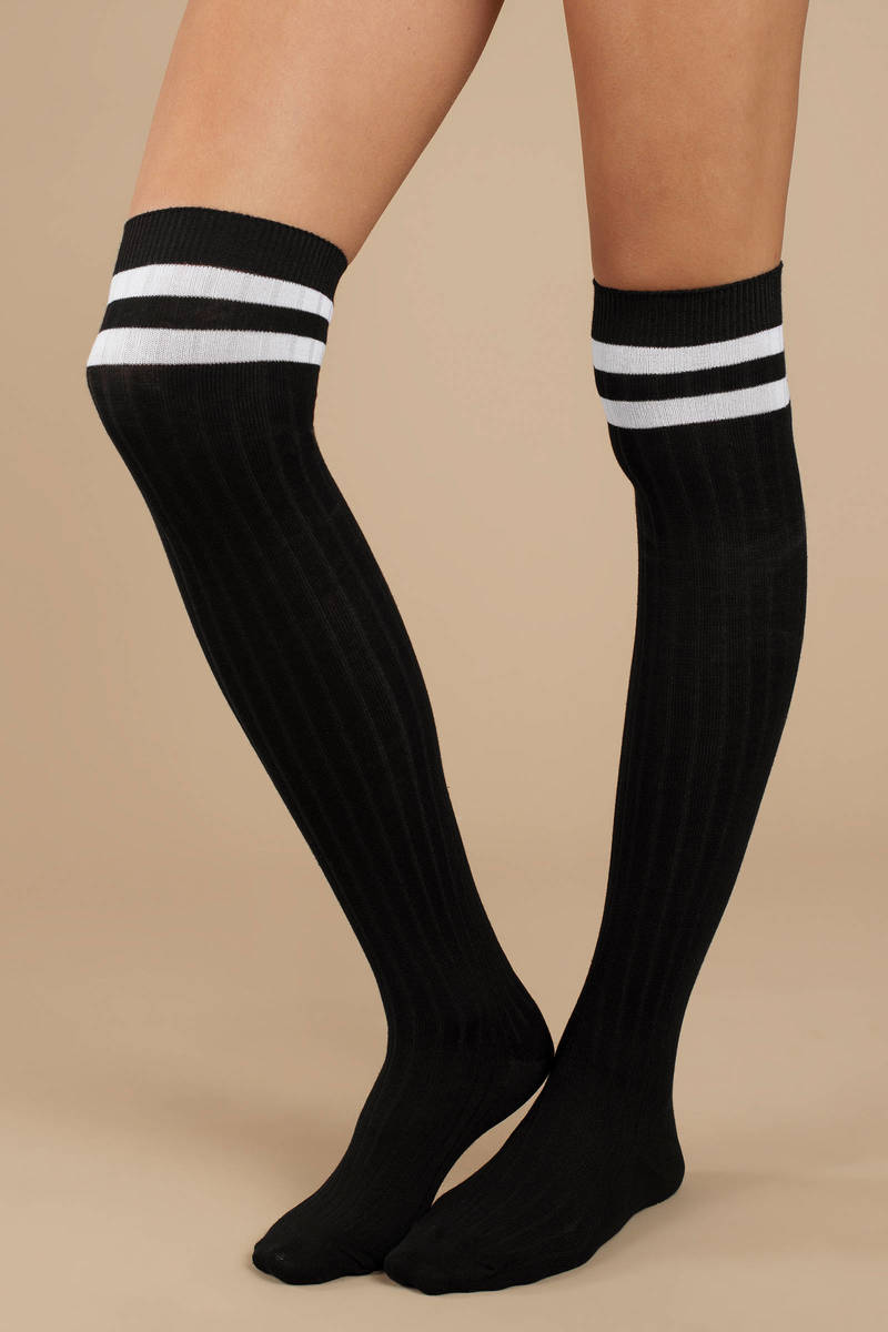 9e575691357 Black Socks - Knee High Socks - Black Athletic Striped Socks - AU  4 ...