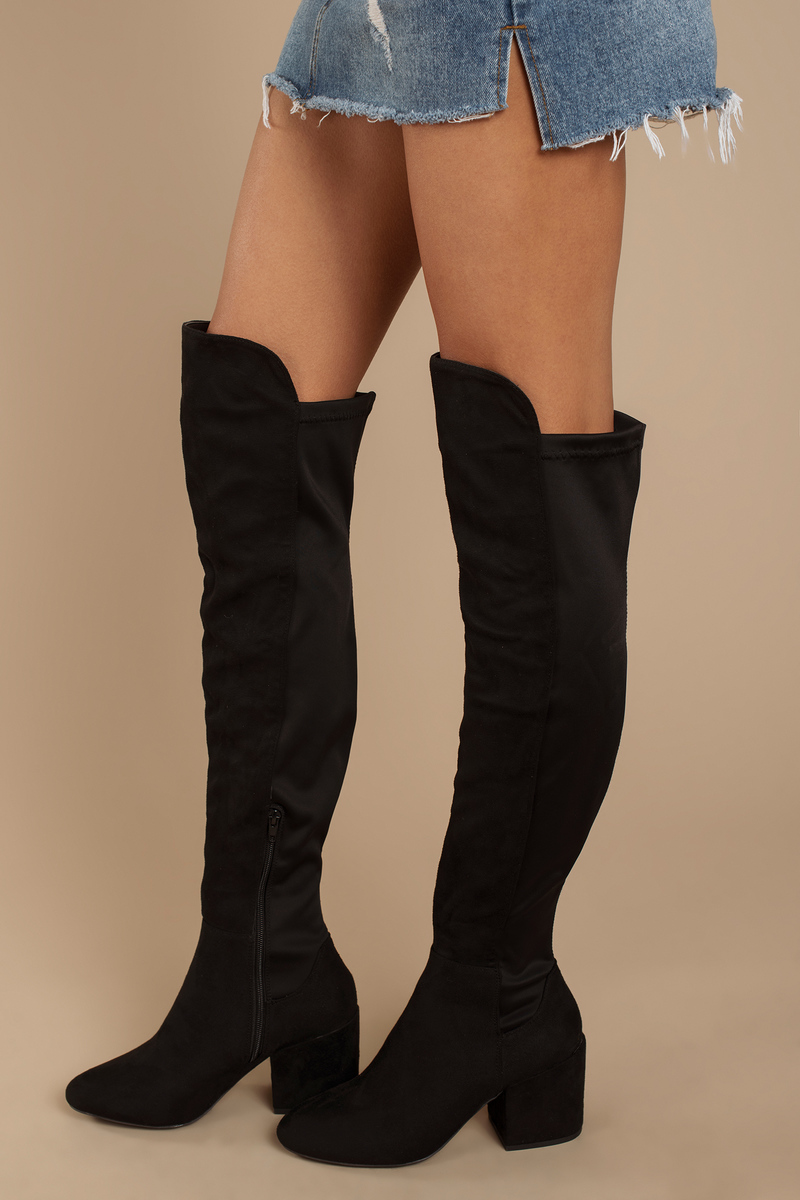 46575017a4 Black Boots - Over The Knee Boots - Tall Black Zip Up Boots - $86 ...