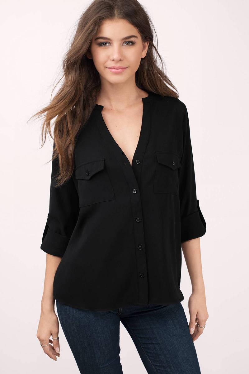 a1b50e233a4ef0 Cute Black Blouse - Black Blouse - Button Down Blouse - Black Blouse ...