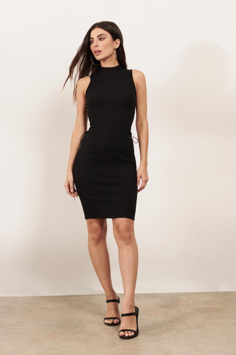 Lace Me Up Black Bodycon Dress