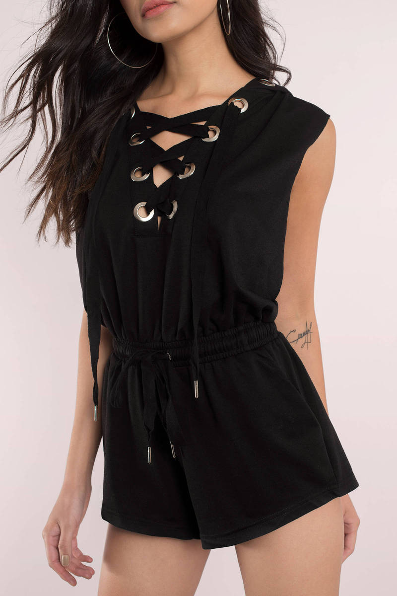 Lace Up For It Black Romper Hoodie