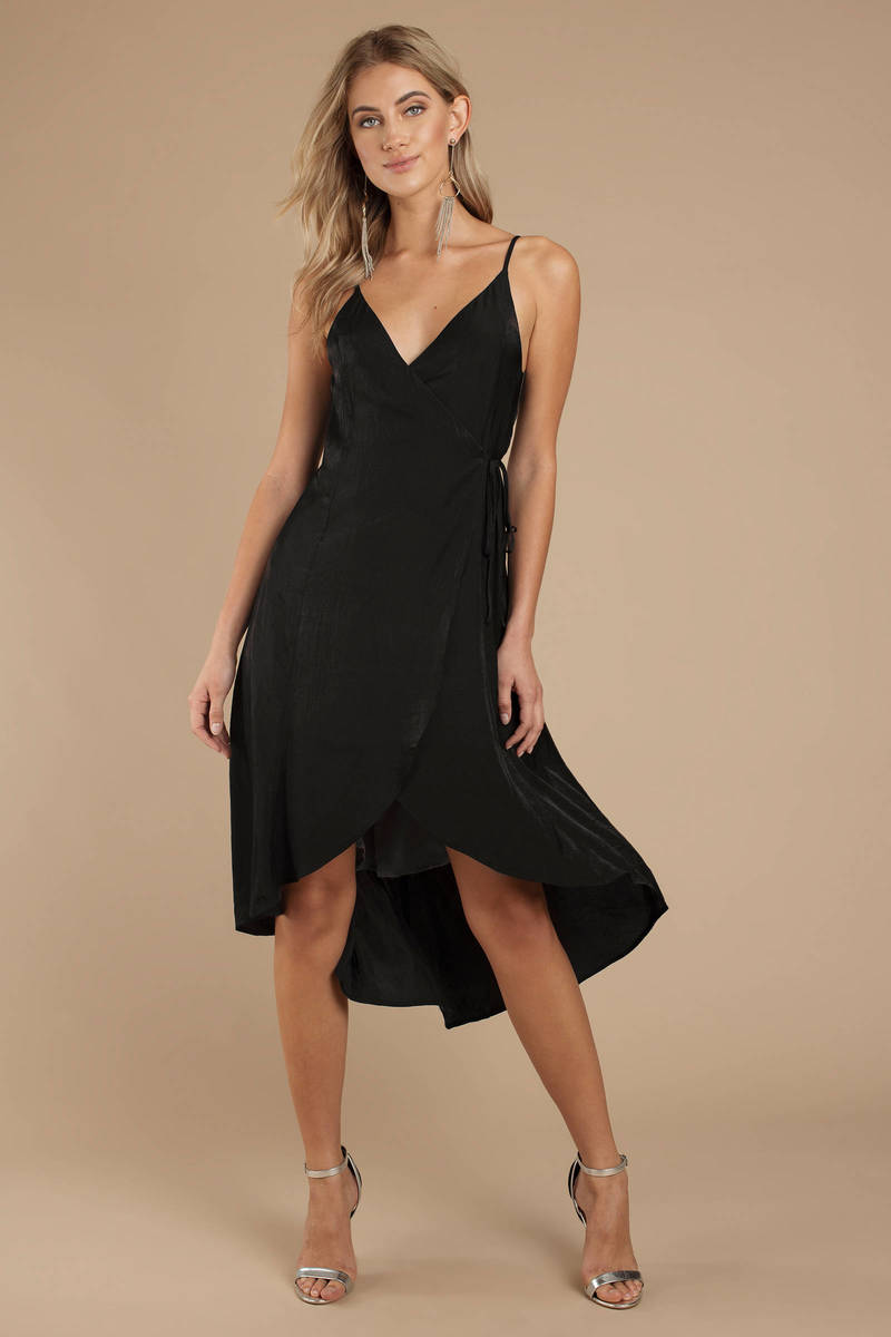 Black Midi Dress Formal Dress Black Wrap Dress Wedding Guest