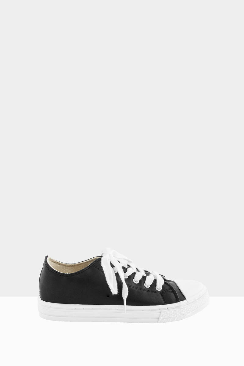 Lani Black Faux Leather Sneakers