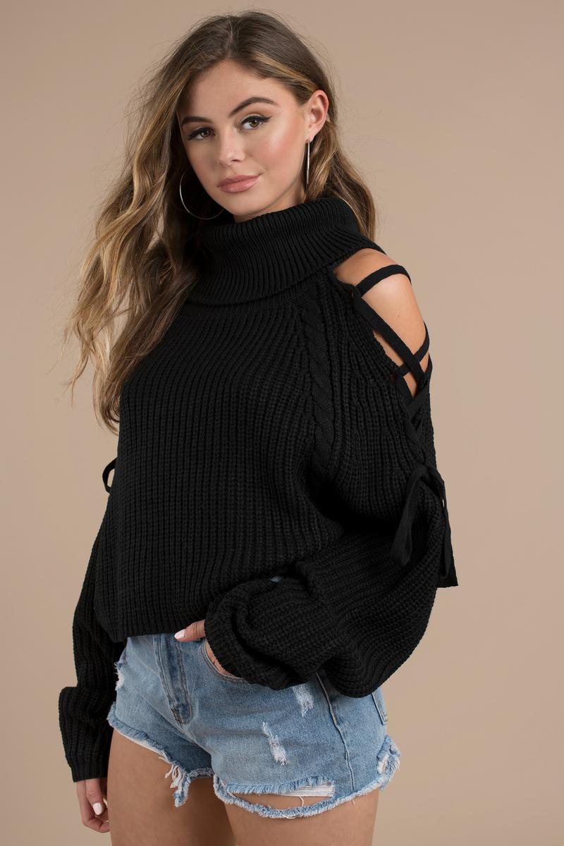 32bae5b820e Black Sweater - Cold Shoulder Sweater - Black Lace Up Sweater -  32 ...