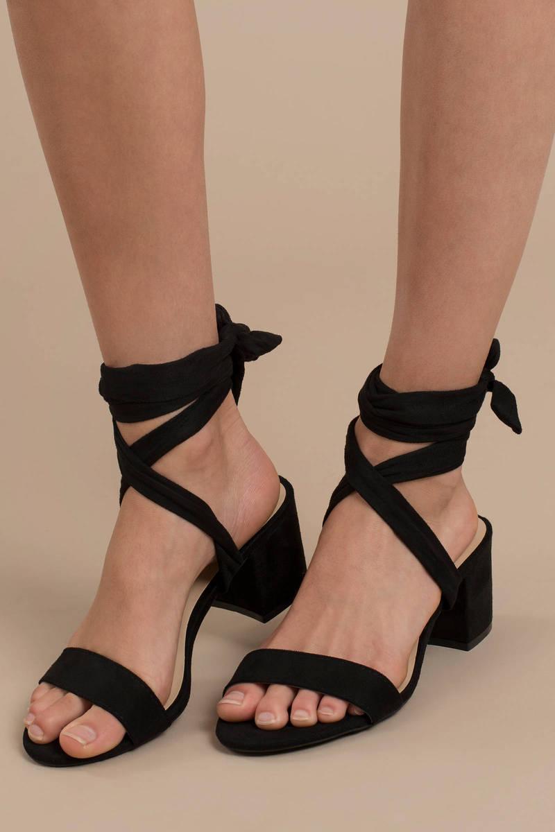 Larina Faux Suede Ankle Wrap Sandals
