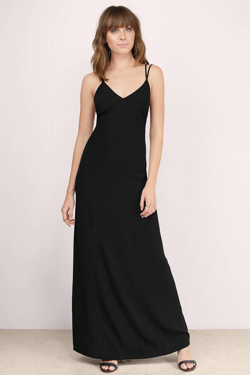 Sexy Black Maxi Dress - Black Dress - V Neck Dress - $20.00