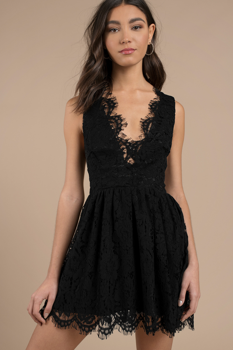 0b58f492fe Cute Skater Dress - Scalloped Dress - Black Lace Overlay Dress -  29 ...