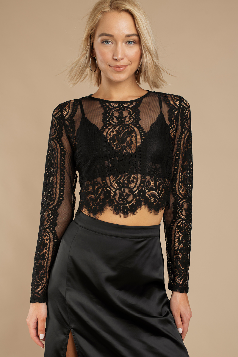 Le Bain White Lace Crop Top