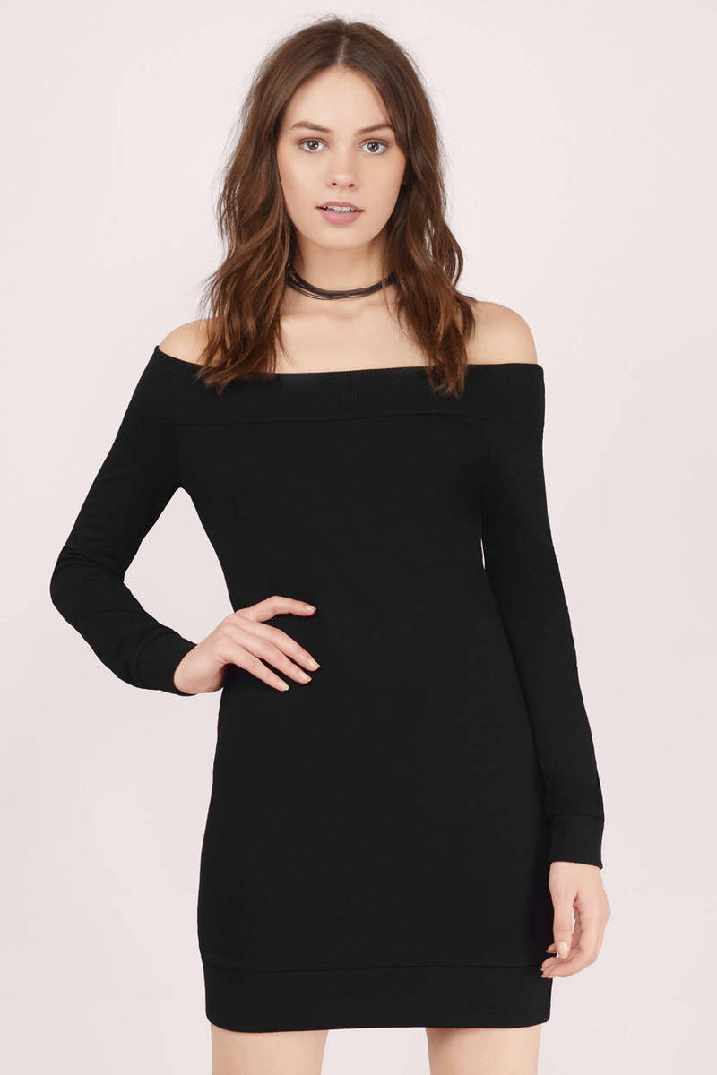 Lean On Me Black Sweater Dress