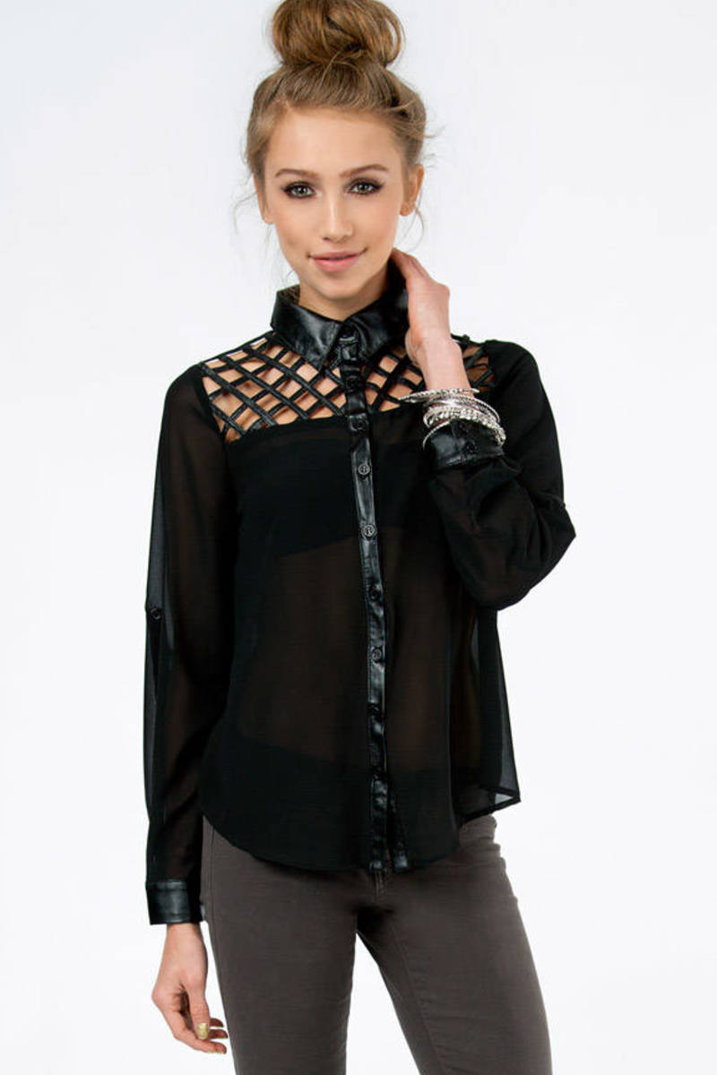 Leather Cutout Top Button Up