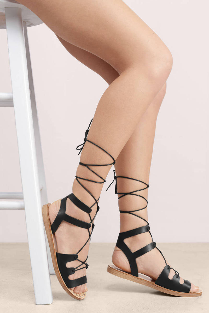 Top Black Leather Sandals - Black Sandals - Lace Up Sandals - $42  EH83