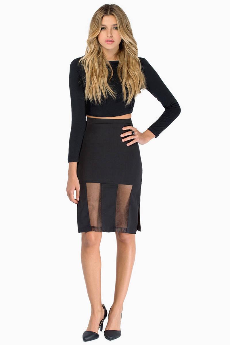 Legs For Days Black Mesh Midi Skirt