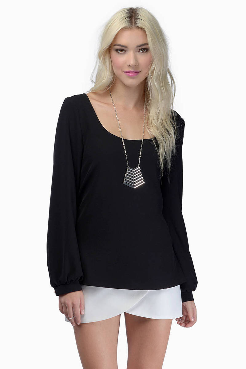 Less Is Amour Black Chiffon Long Sleeve Scoopneck Blouse