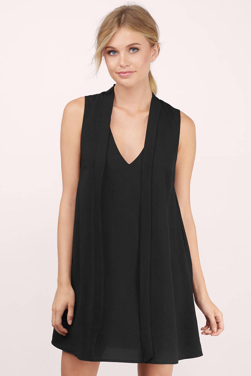 Let It Flow Black Shift Dress