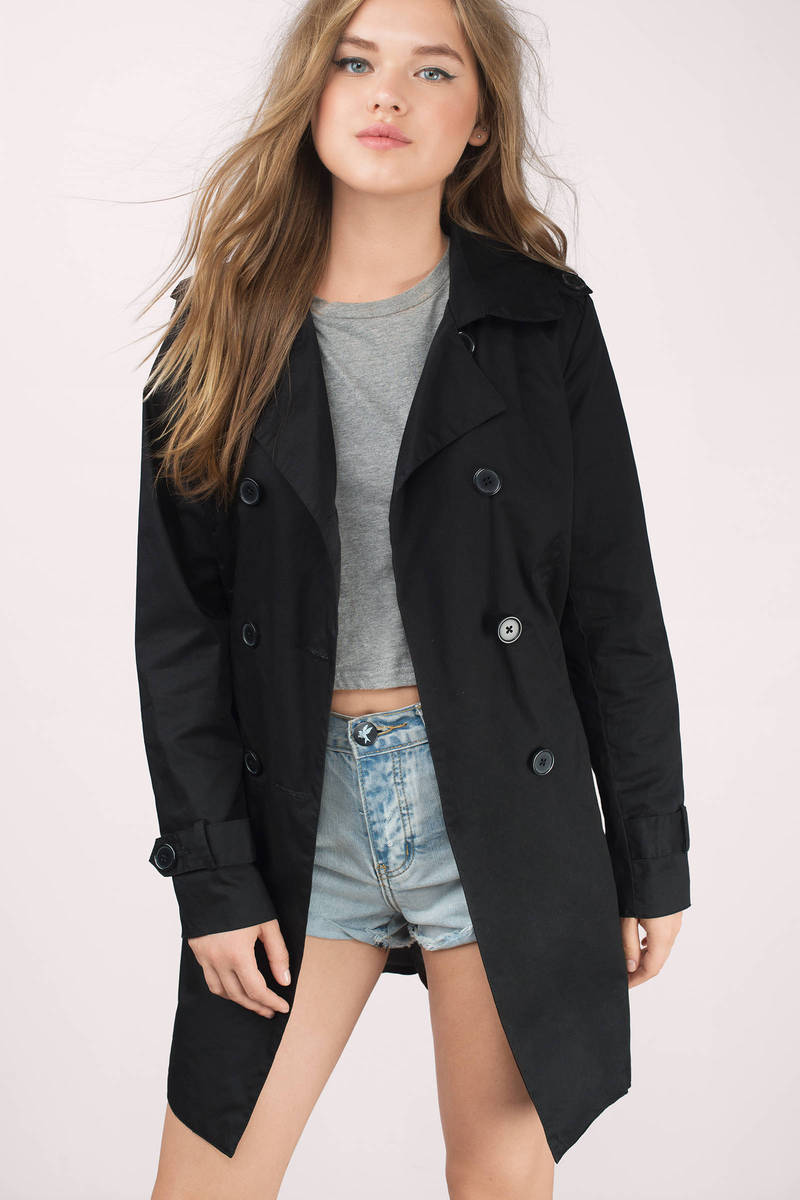 Let It Rain Black Trench Coat