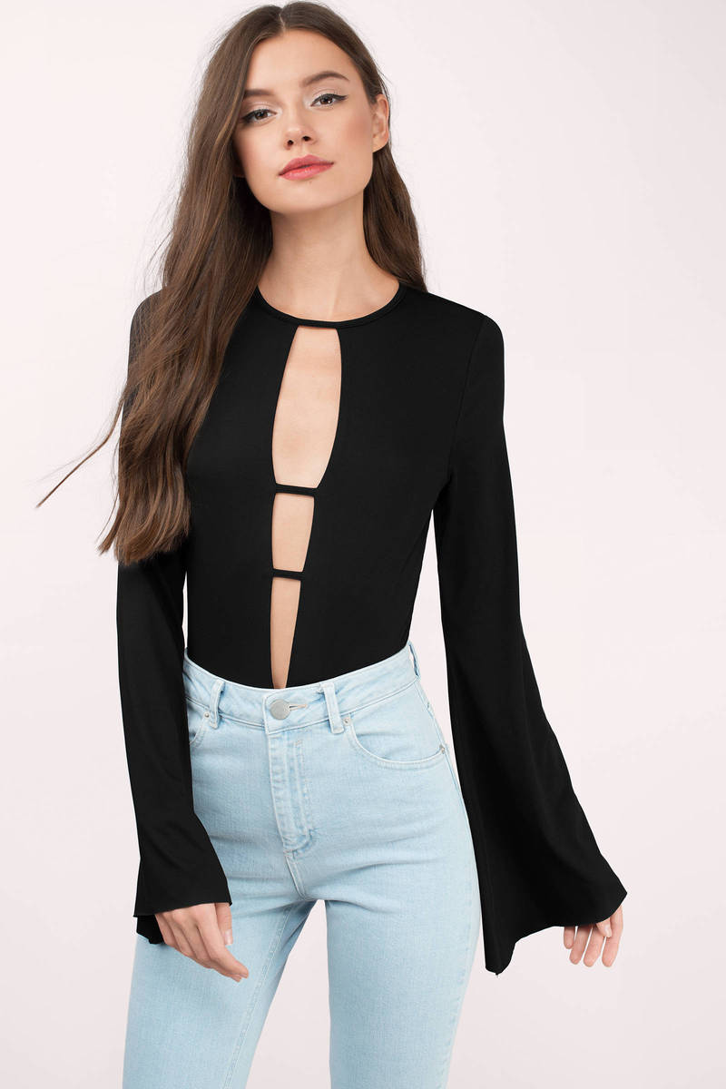 f865038b1260 Black Bodysuit - Bell Sleeve Bodysuit - Deep V Bodysuit - Plunging ...