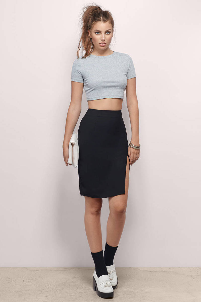 Lilee Light Blue Pencil Skirt