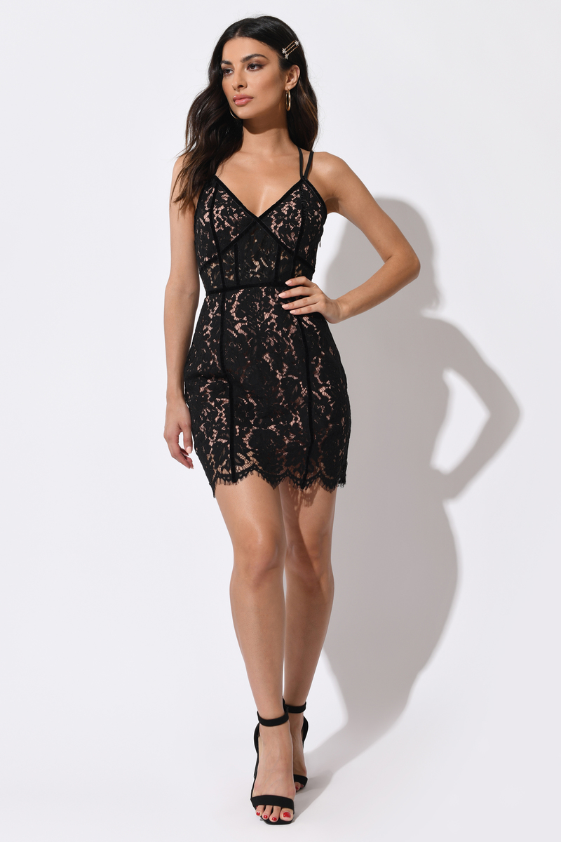 5fd1dadf32ae5 Black Bodycon Dress - Lace Fitted Dress - Black Criss Cross Dress ...