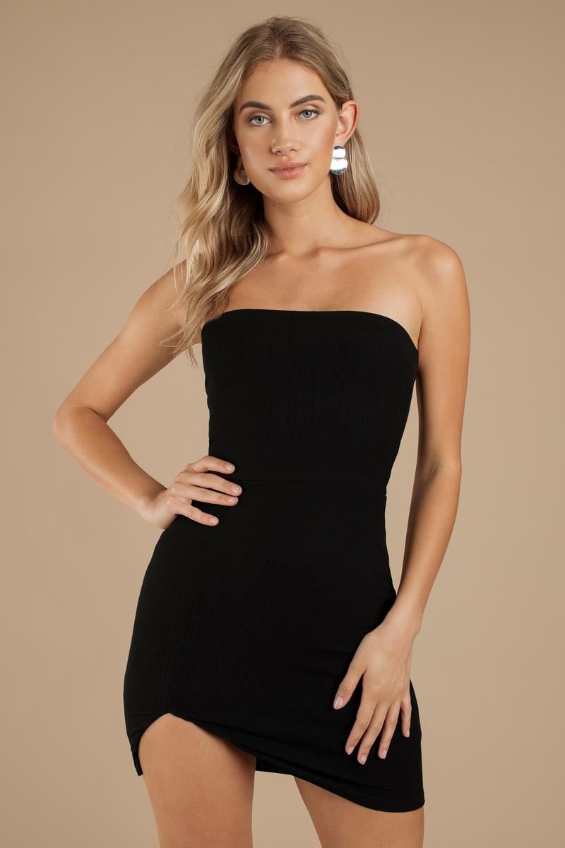 dbd0b0051308 Black Bodycon Dress - Strapless Bodycon Dress - Black Asymmetrical ...