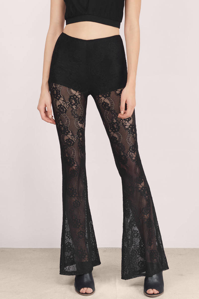 Raga Raga Little Vixen Bell Black Lace Sheer Pants