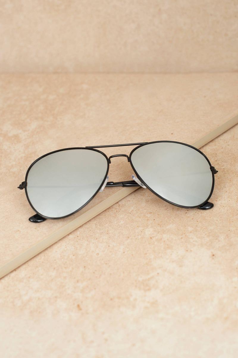 c904d06a6c4 Black Sunglasses - Reflective Mirror Sunglasses - Black Aviator ...