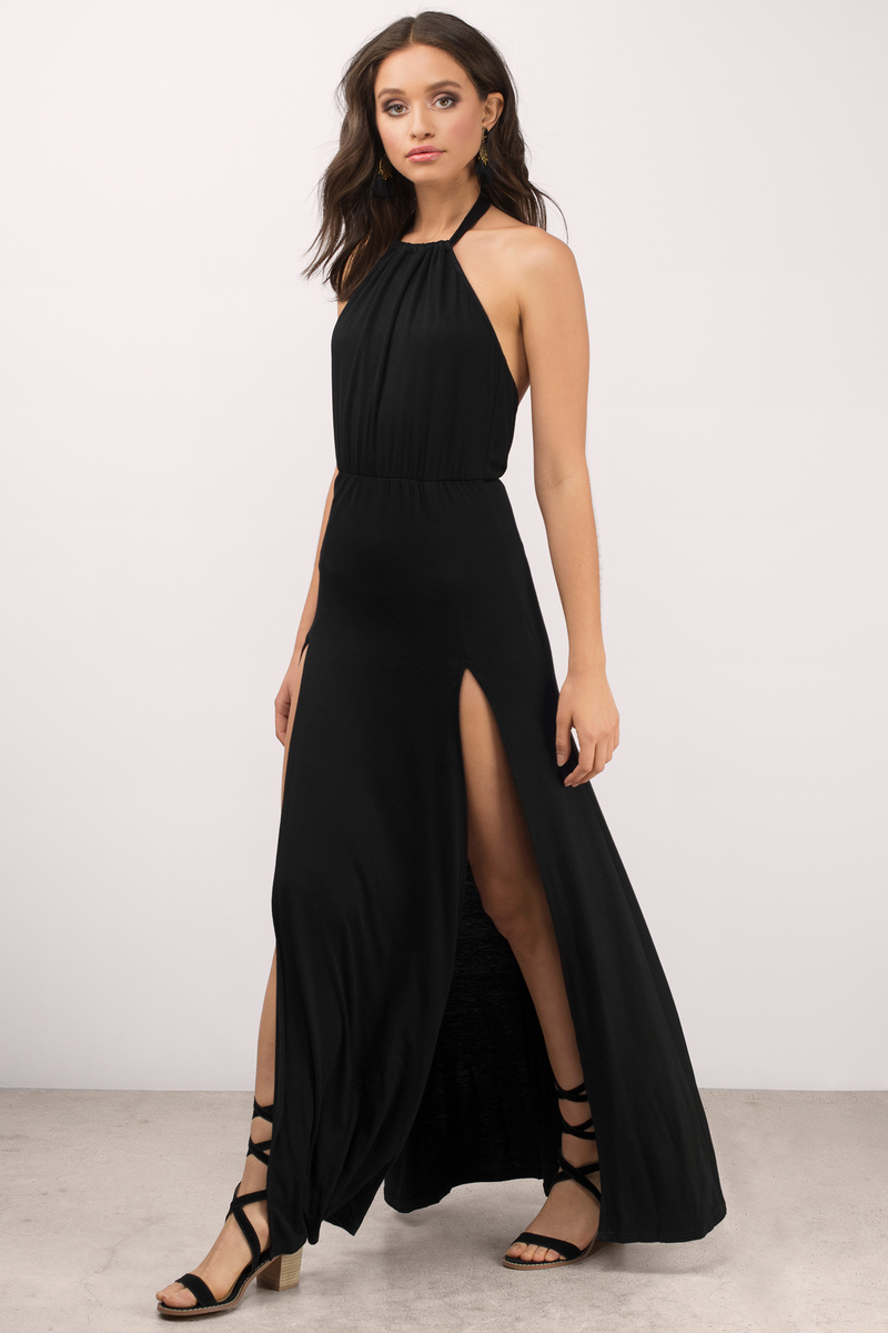 sexy black maxi dress  front slit dress  maxi dress