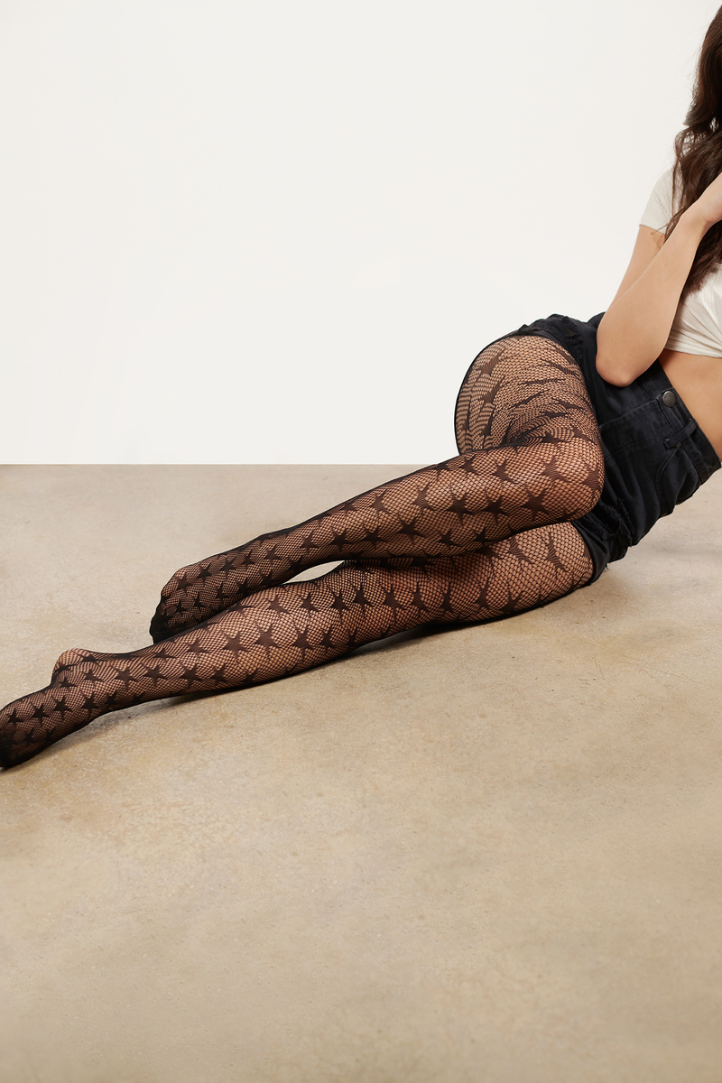 a1f9e5a69 Black Tights - Fishnet Tights - Black Star Print Tights - Star ...