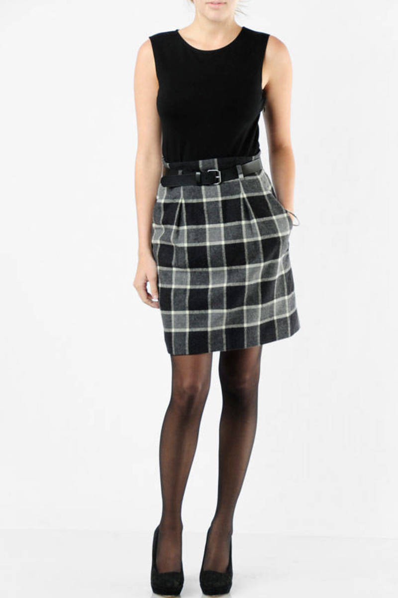 4eff3f9c6c Black Theory Mini Dress - Plaid Shirt Dress - Black Belted Dress ...