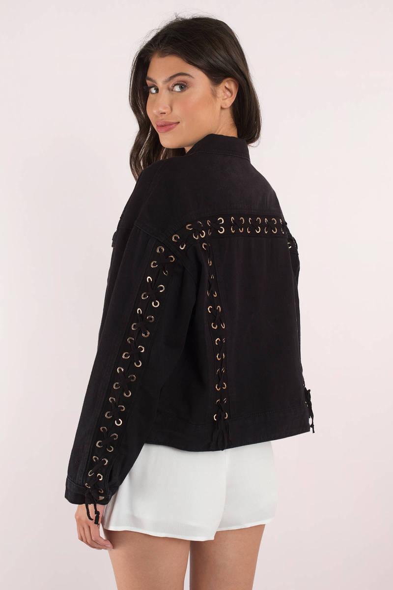 Lorelai Black Lace Up Denim Jacket