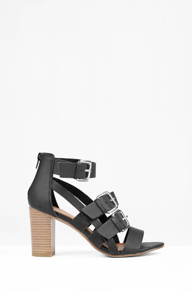 b9996494aea Black Sandals - Strappy Sandals - Open Toe Sandals - Heeled Sandals ...