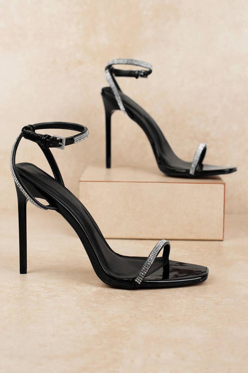 Black Heels - Ankle Strap Heels - Black Rhinestone Heels ...