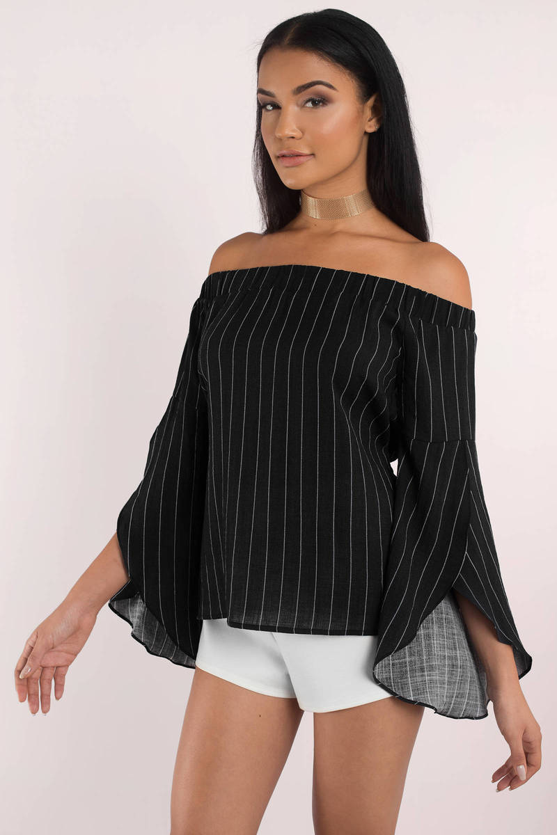 Luna Black Stripe Print Off Shoulder Top