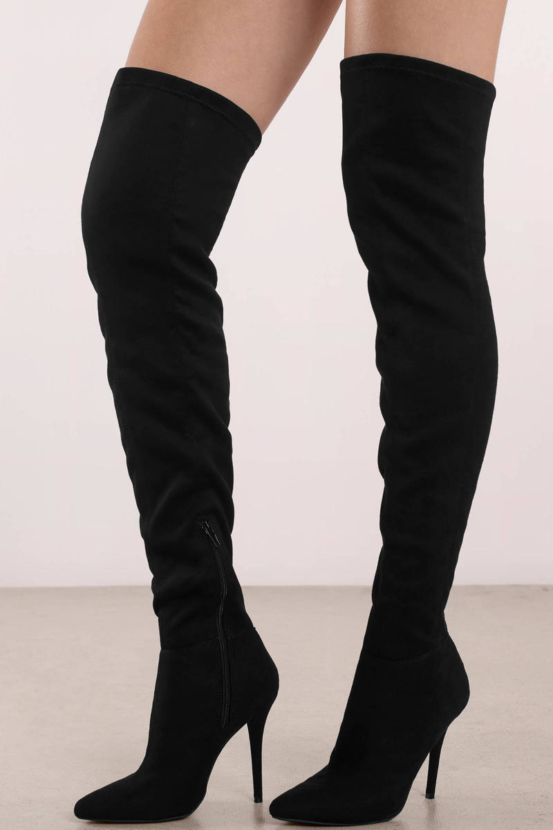 1a4f39734c7 Black Boots - Stiletto Heeled Boots - Black Thigh High Boots -  34 ...