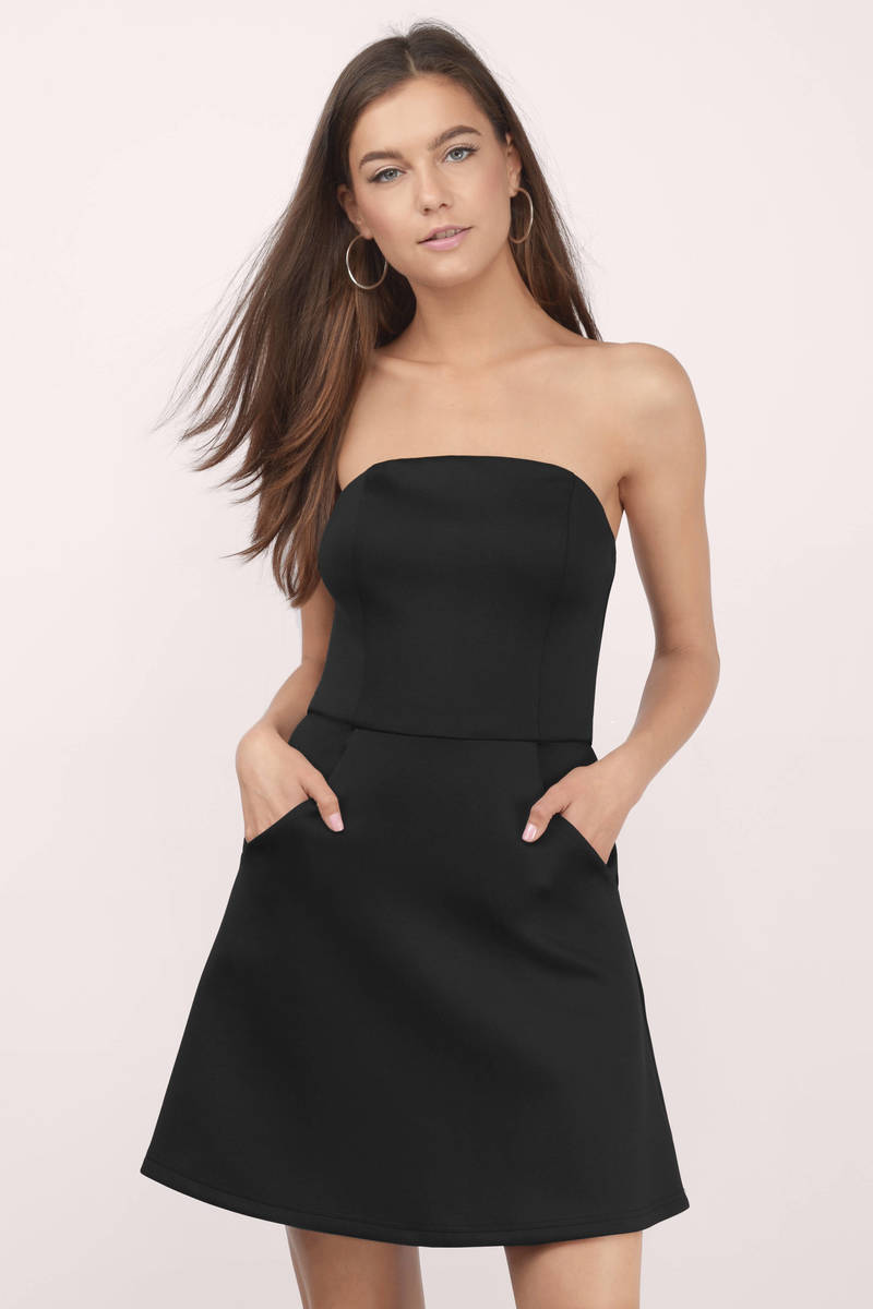 244dd38a8335 Cute Black Skater Dress - Strapless Dress - Skater Dress - $12 | Tobi US